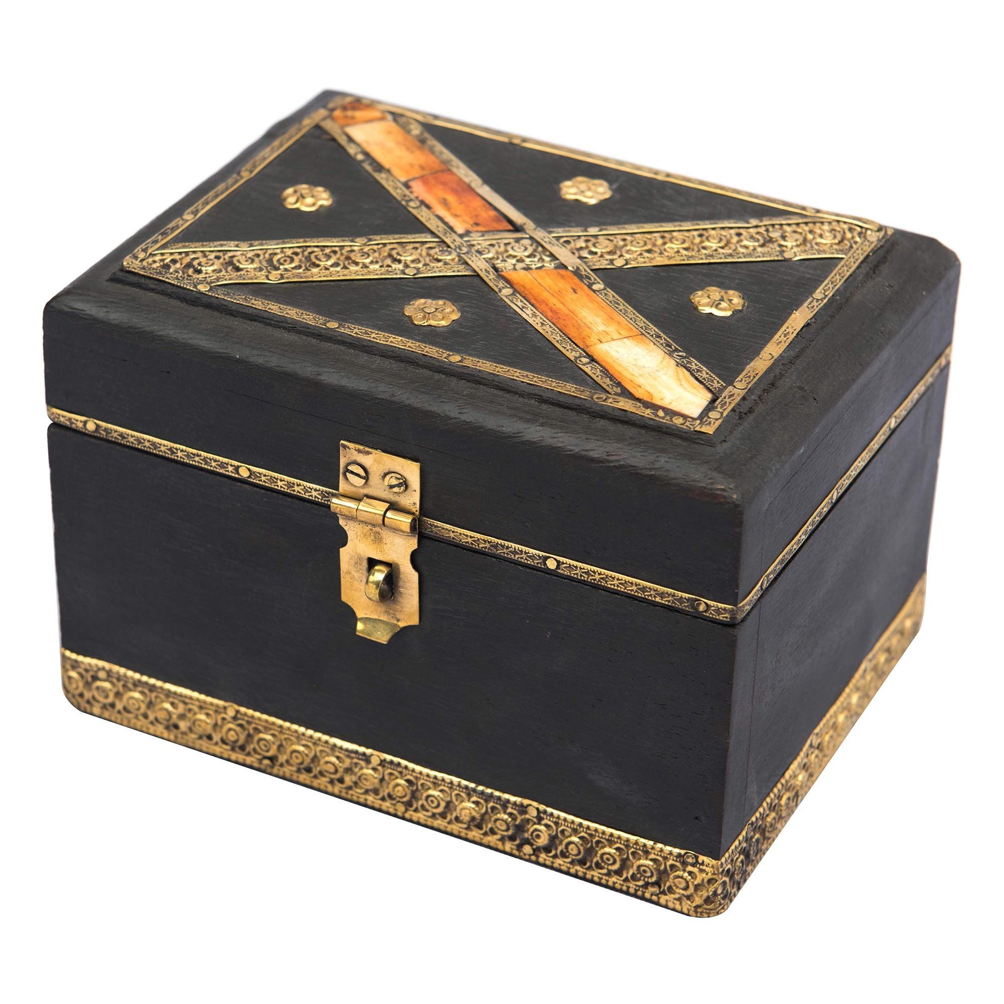 Bora Brass & Bone Inlay Timber Storage Box