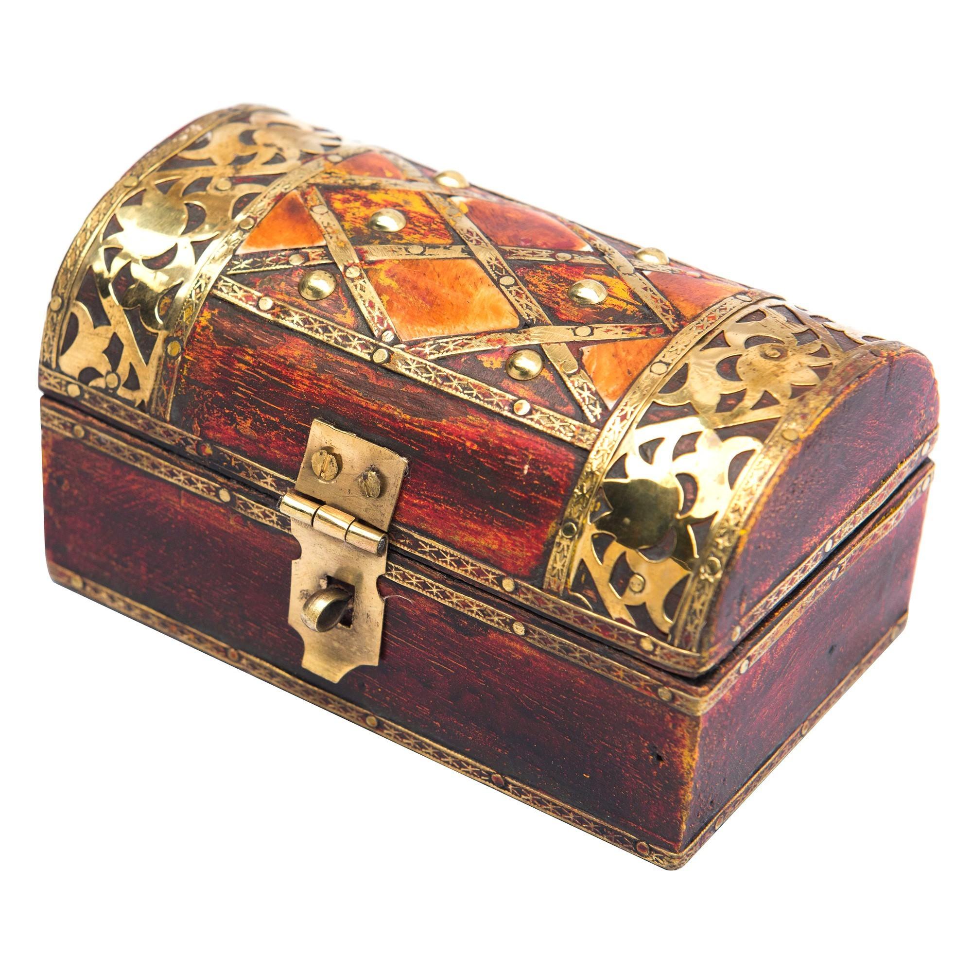 Sano Brass & Bone Inlay Timber Storage Box