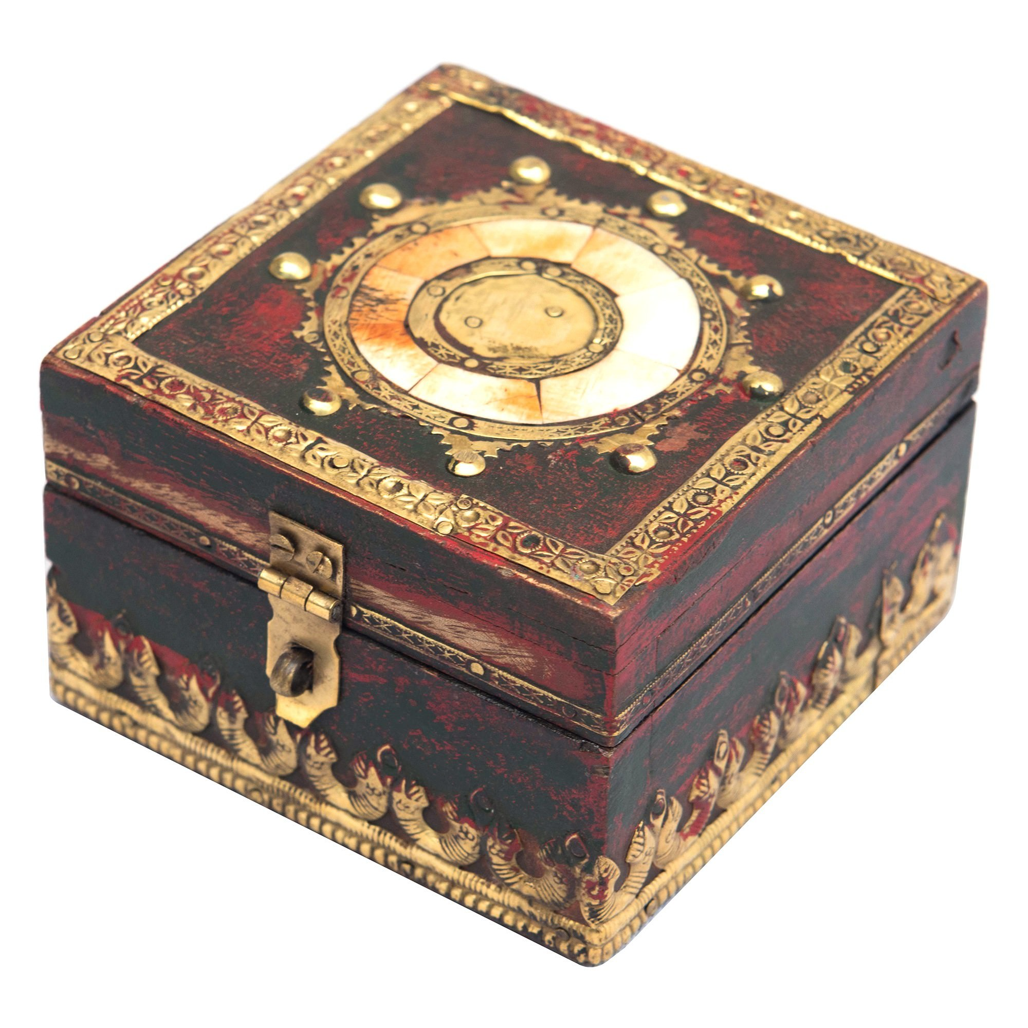 Checkso Brass & Bone Inlay Timber Storage Box