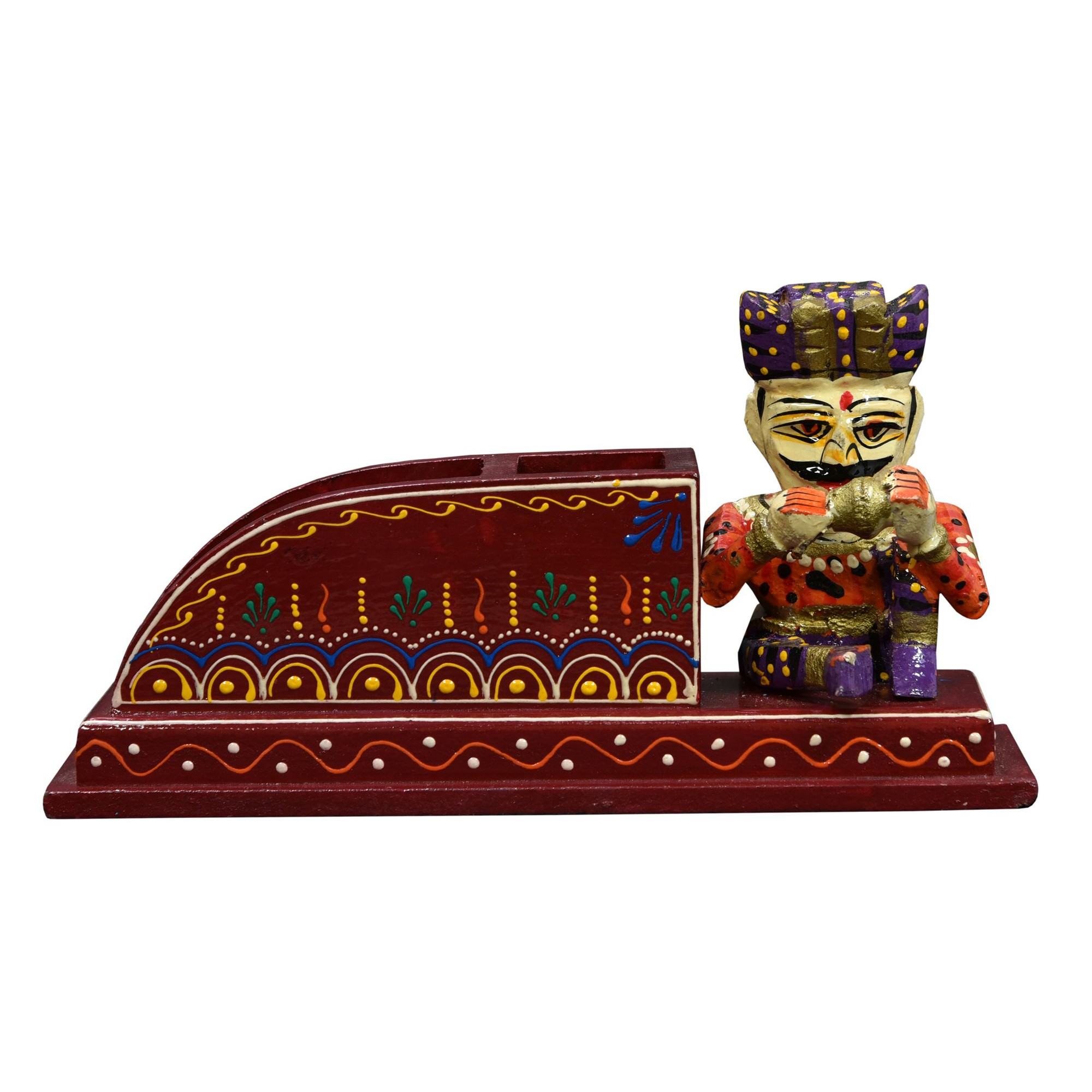 Missiel Hand Painted Timber Pen Holder, Red