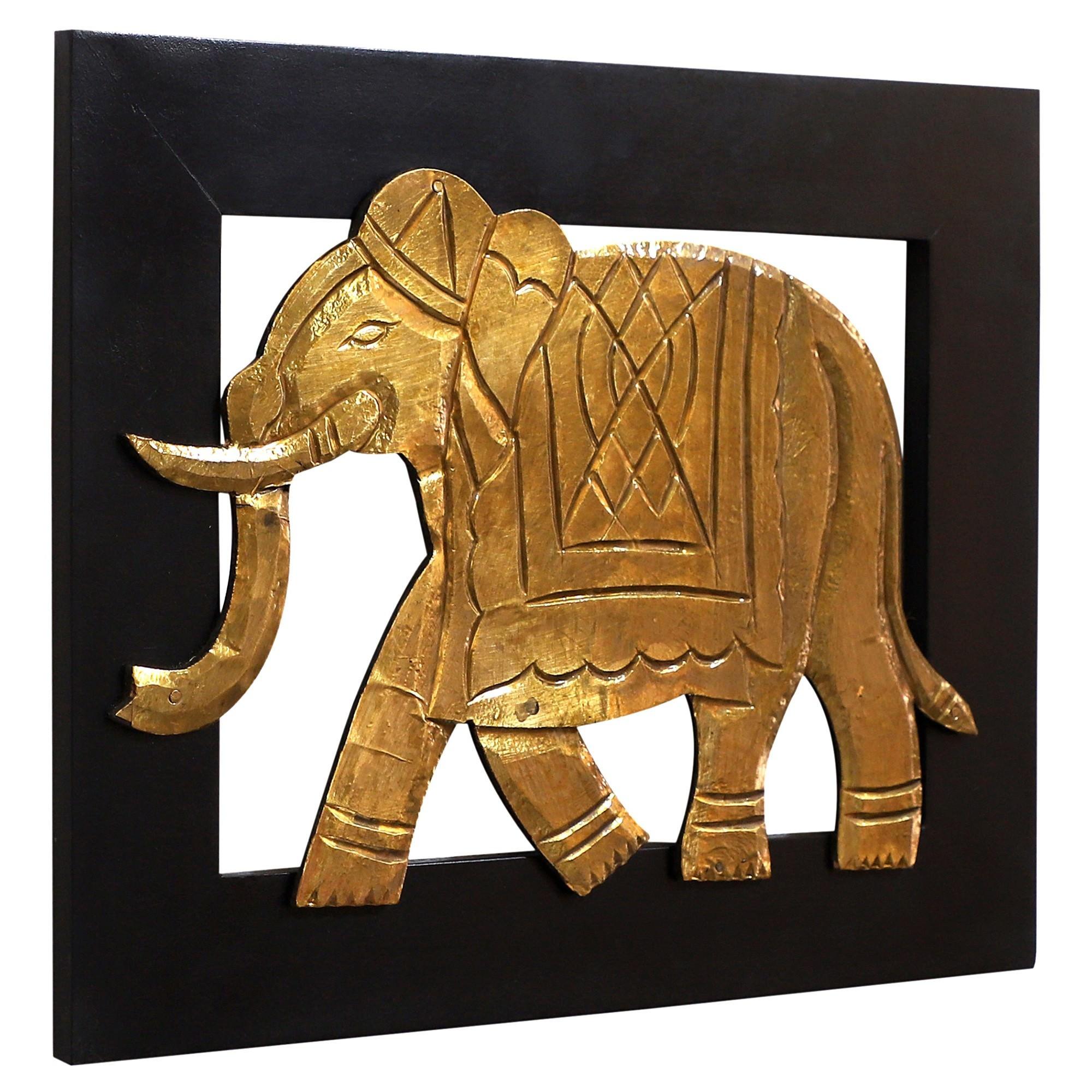 Maha Metal & Wood Wall Decor, Elephant, 33cm