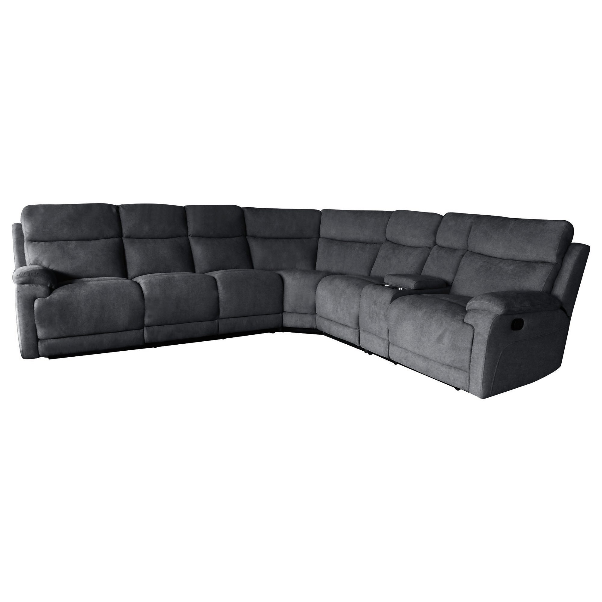 Columbia 5 Seater Rhino Fabric Corner Sofa with End Recliners, Charcoal
