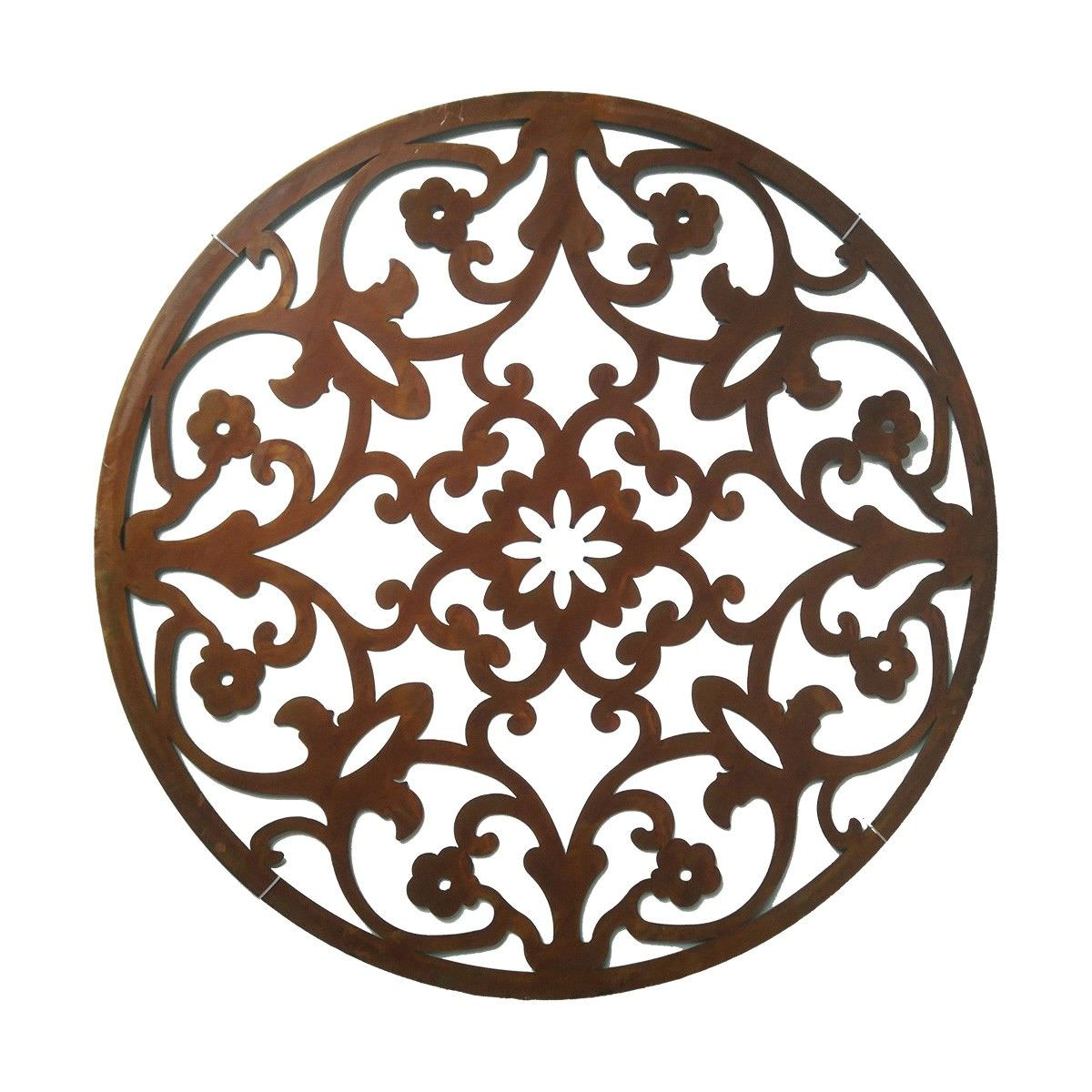 Floral Silhouette Laser Cut Iron Round Wall Art, Rust, 100cm