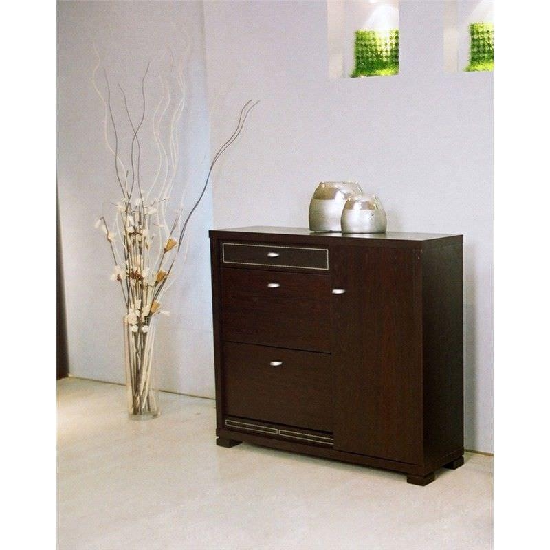 3-Door Walnut Shoe Cabinet - 108x95x30cm