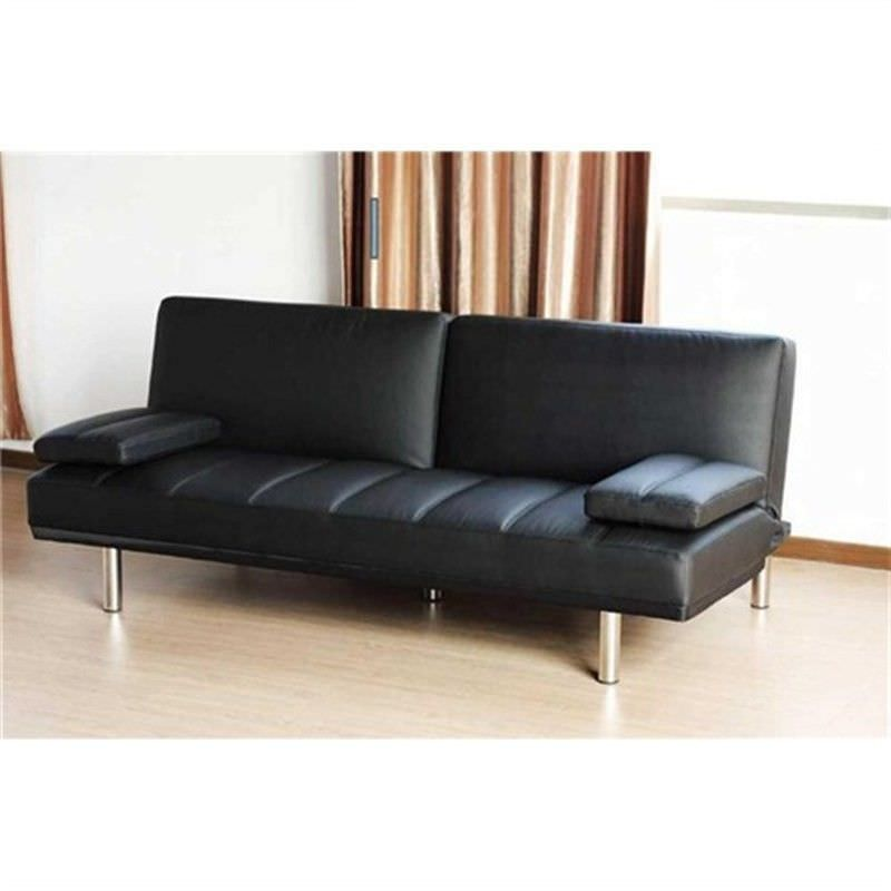 Italian Des 9P Black Pu Leather Sofa Bed Futon Sofabed