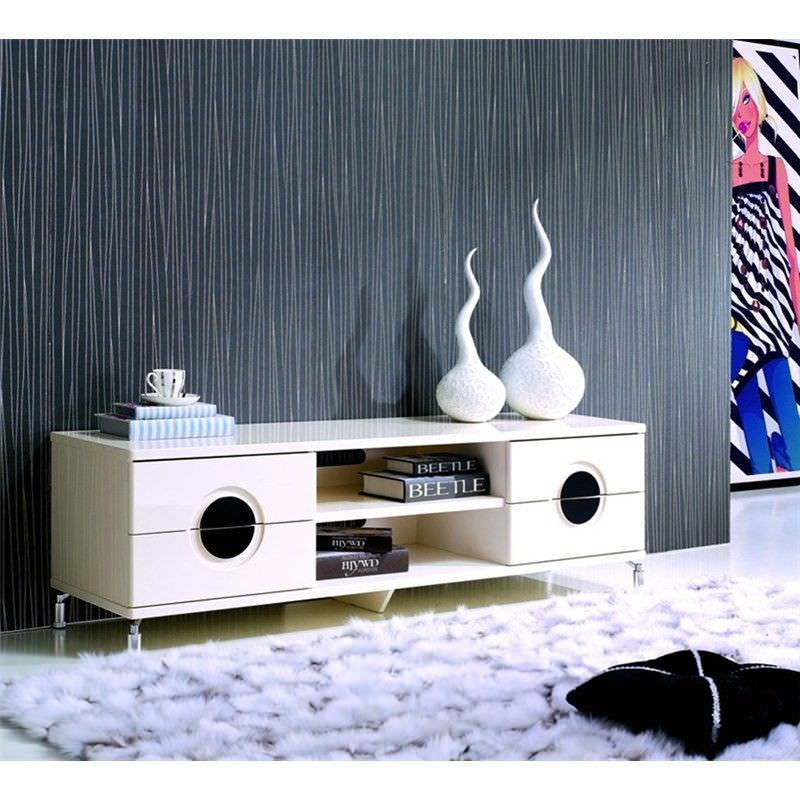 High Gloss Creamy TV Unit and Coffee Table Set