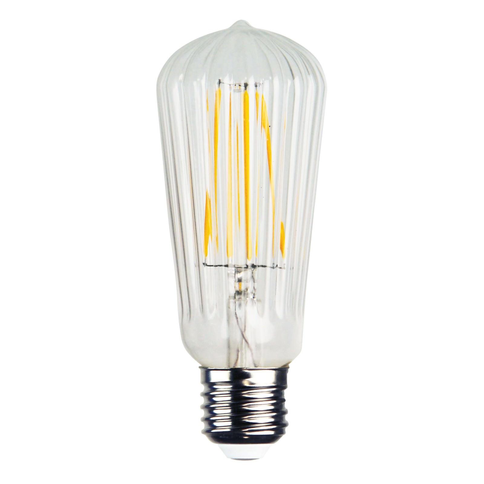 Allume Ribbed LED Filament Globe, E27, 2200K, ST64 Shape
