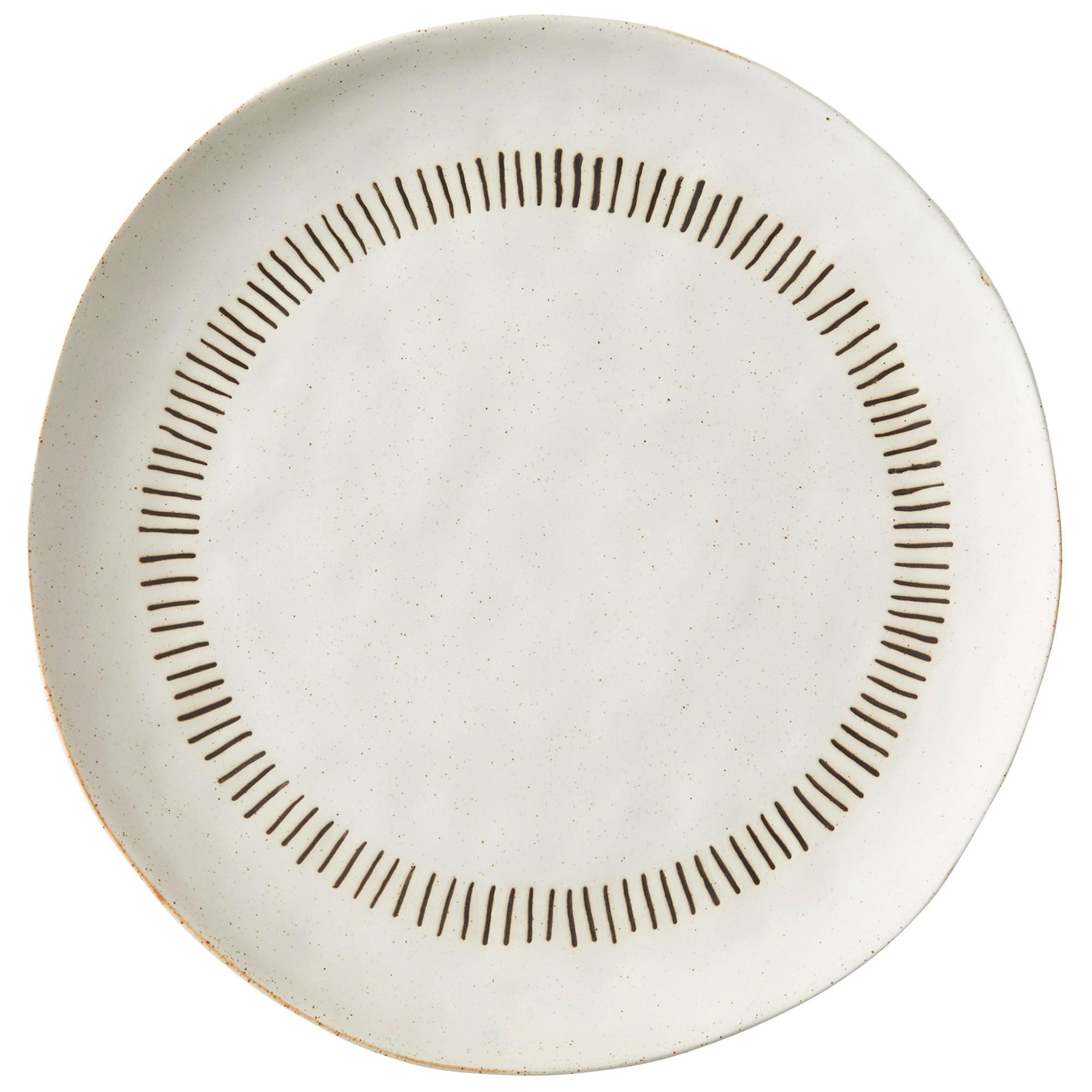 Santorini Ceramic Serving Platter, 33cm, Ivory