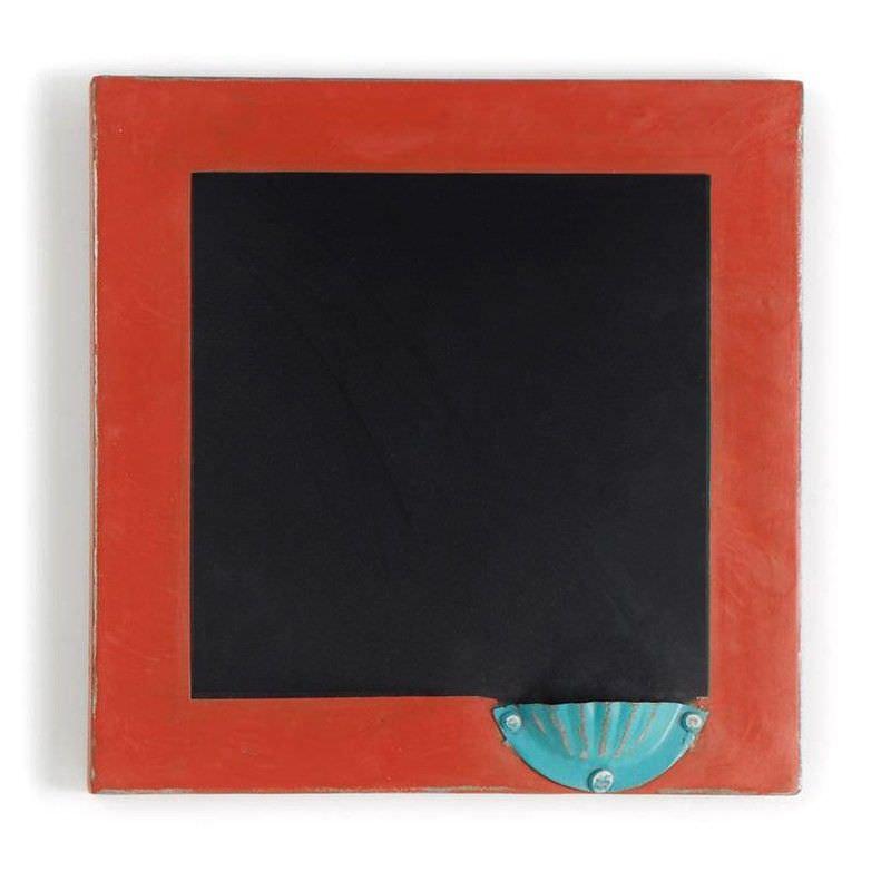 Dufferin Painted Iron Blackboard Wall Decor - Red Orange