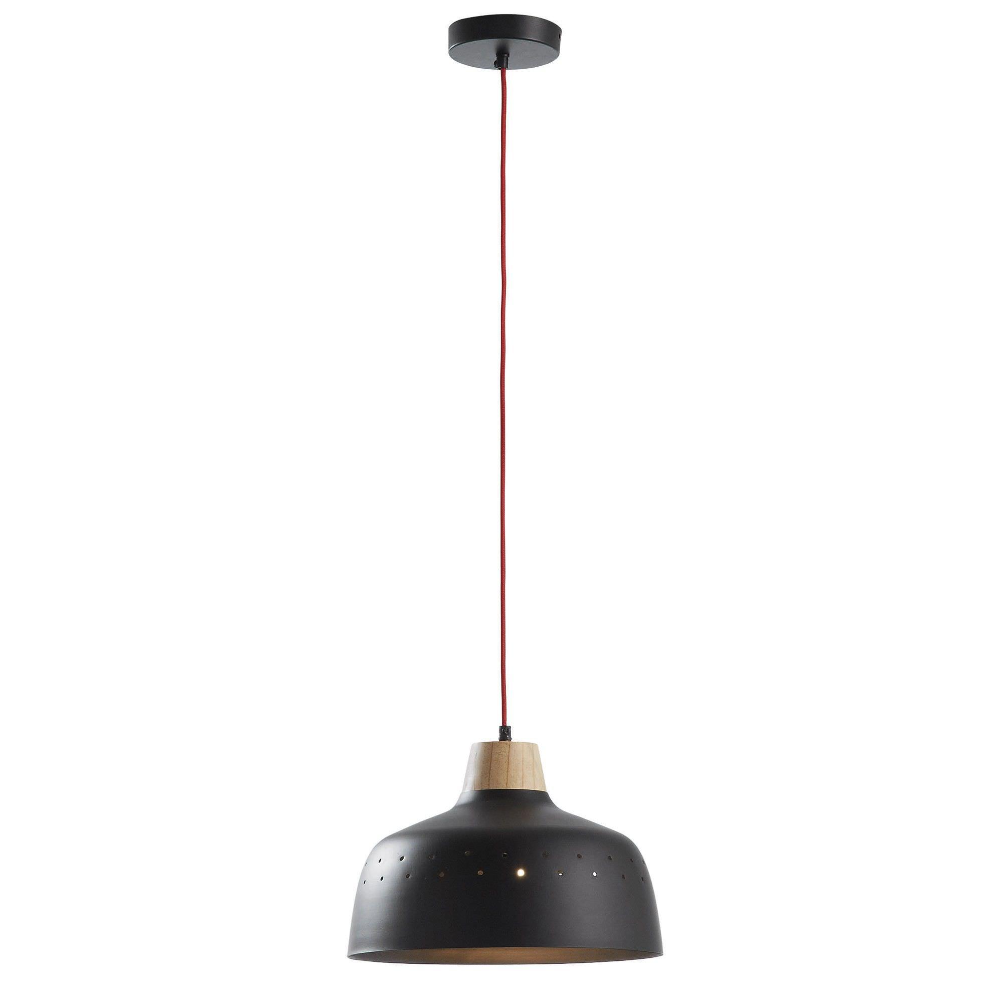 Bodi Steel Pendant Light, Bowl Shade, Black