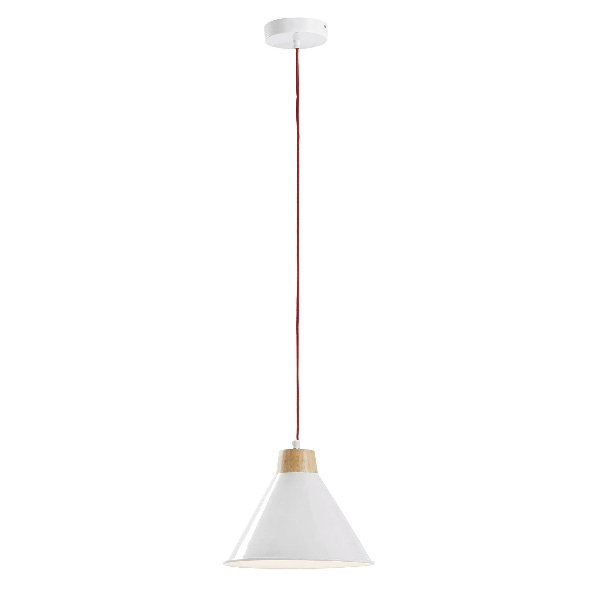 Bodi Steel Pendant Light, Cone Shade, White