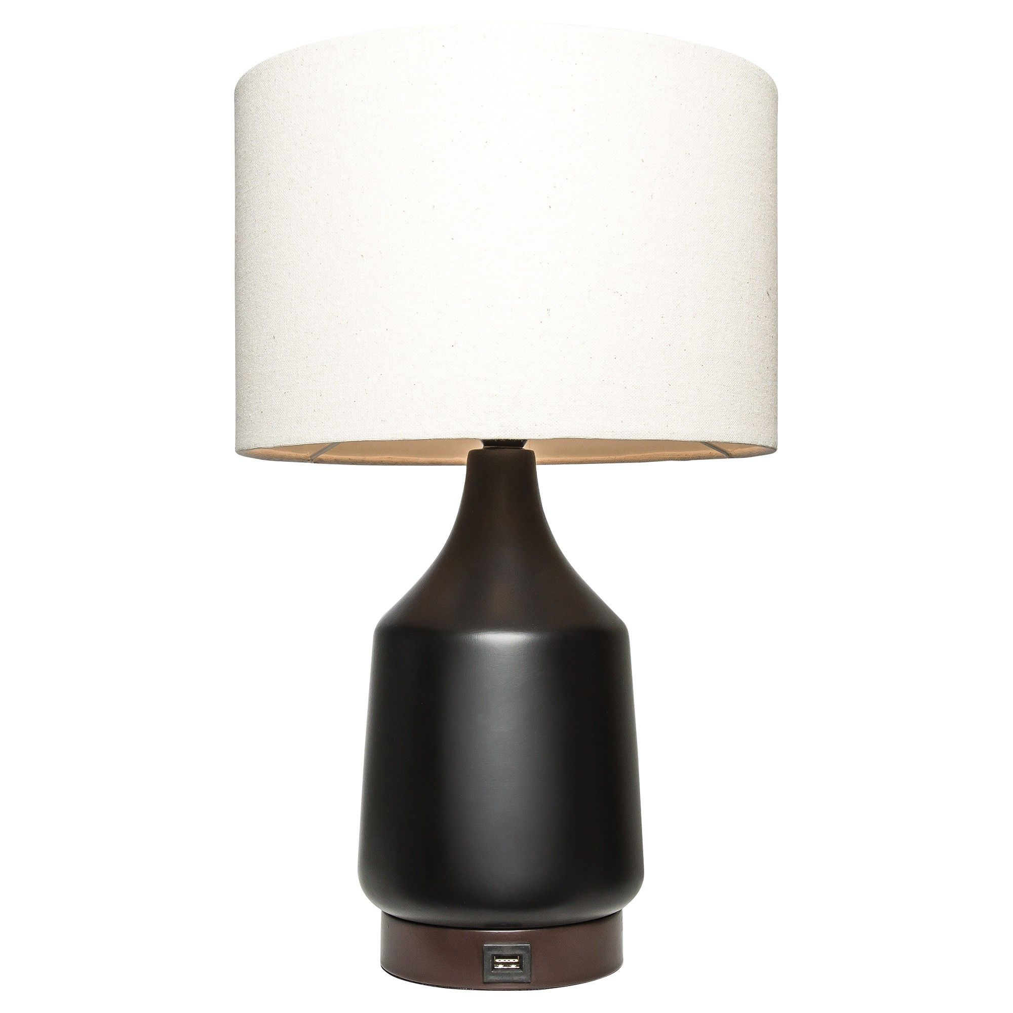 Santos Ceramic Table Lamp with USB Charger, Black