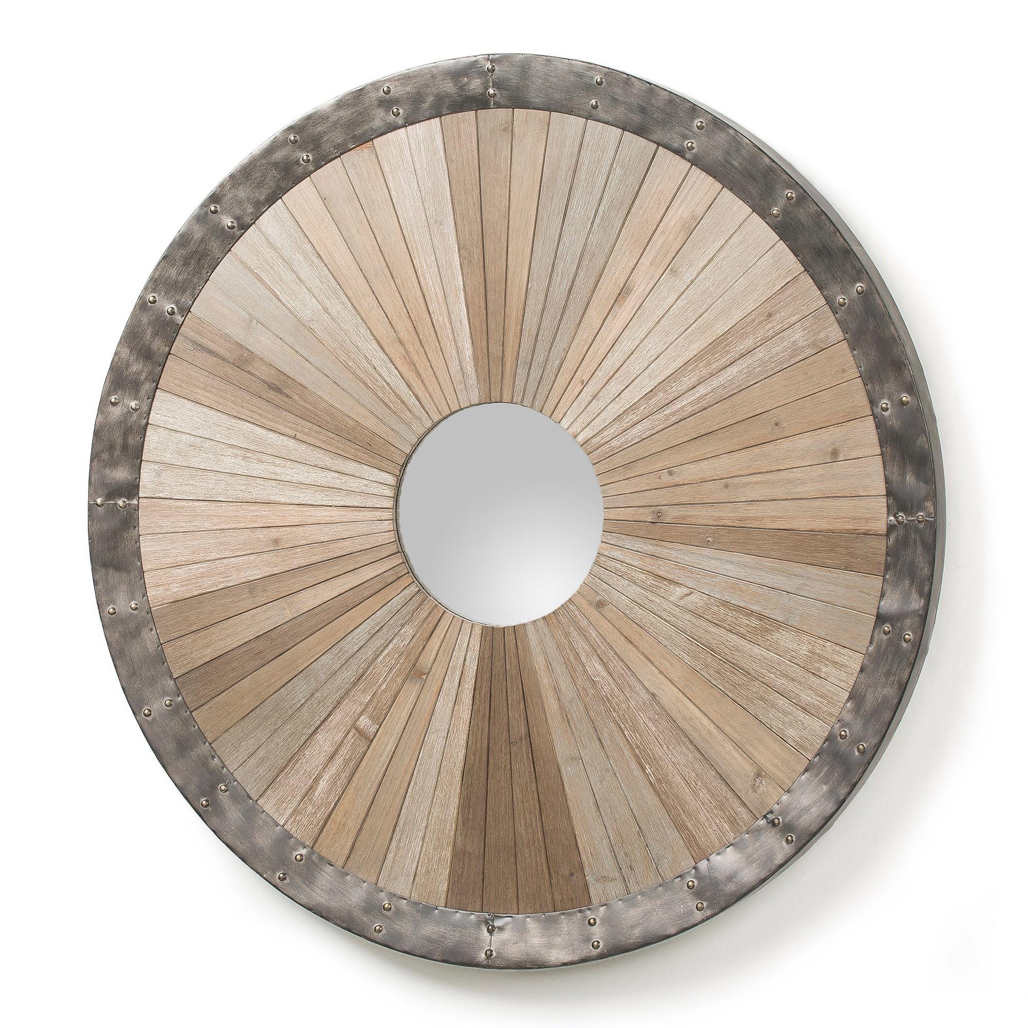 Rocco Fir Timber & Steel Frame Round Wall Mirror, 100cm