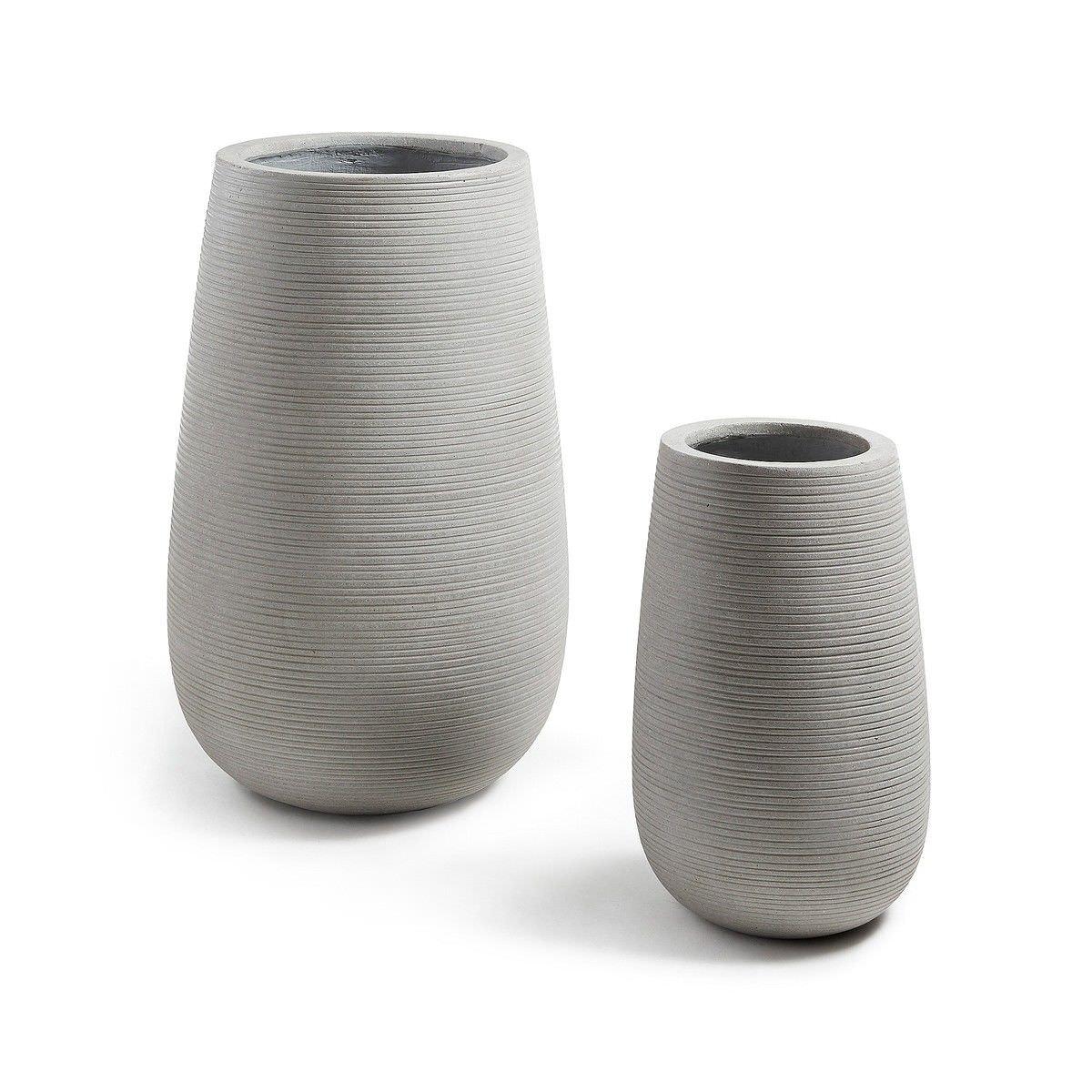 Bozelia 2 Piece Poly Cement Vase Pot Set, Grey