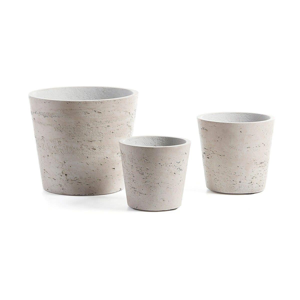 Megalo 3 Piece Poly Cement Planter Set, Type D