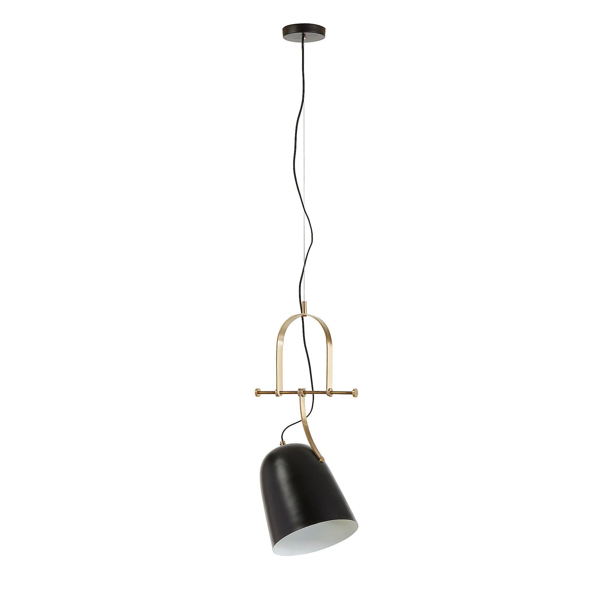 Zakari Steel Pendant Light, Bell Shade, Black