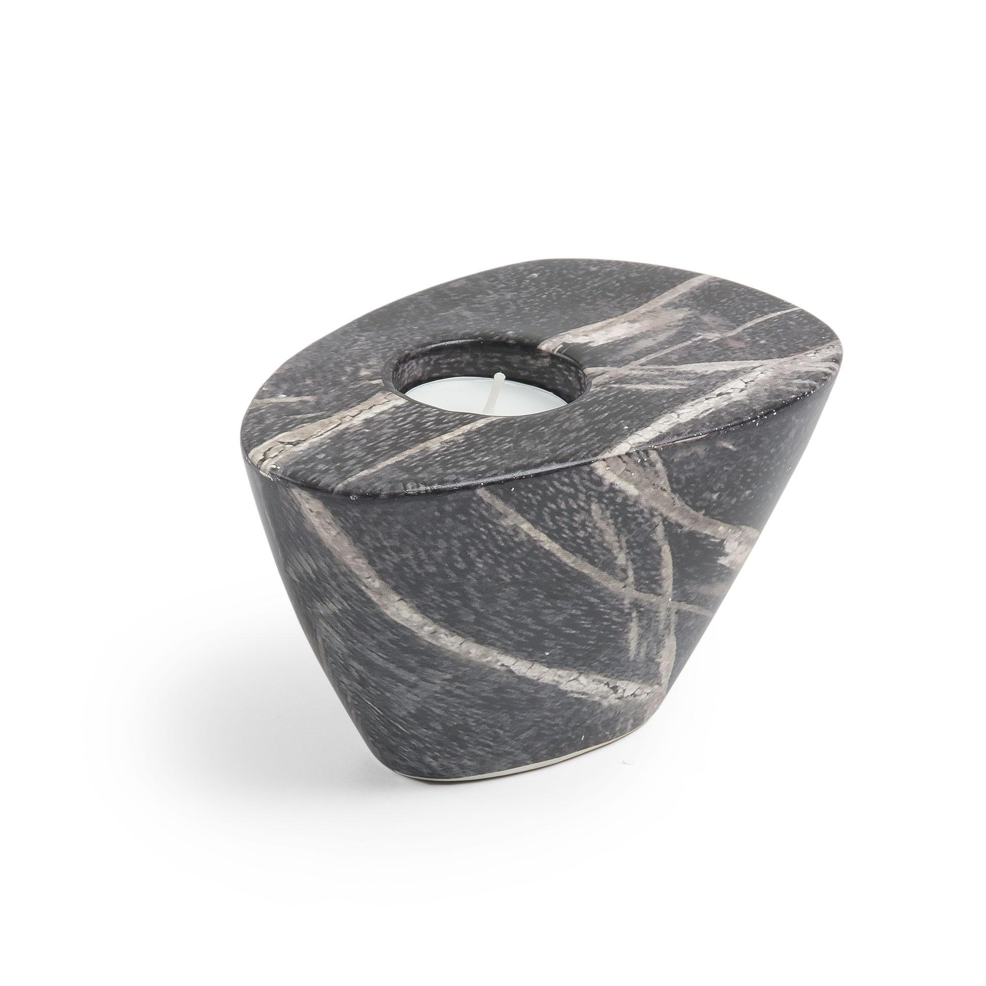 Maloney Ceramic Tealight Holder, Dark Marble