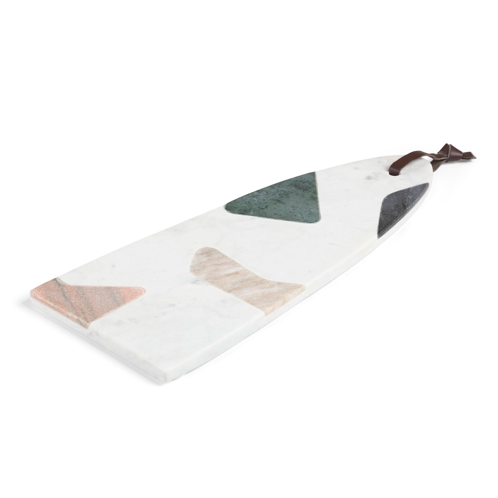 Ainsworth Marble Semioval Serving Board, 40x16cm, Multi