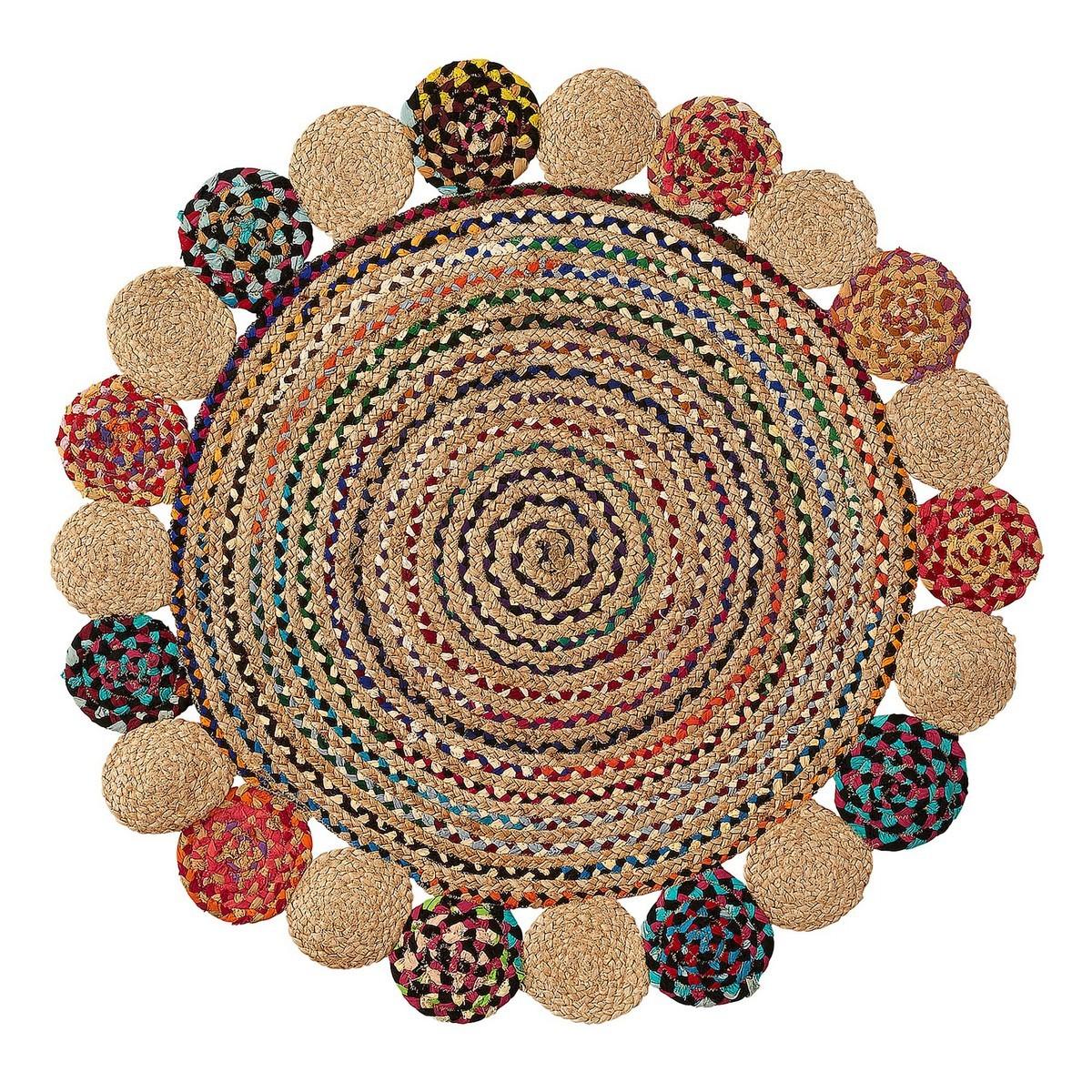 Safia Jute & Cotton Round Rug, 100cm