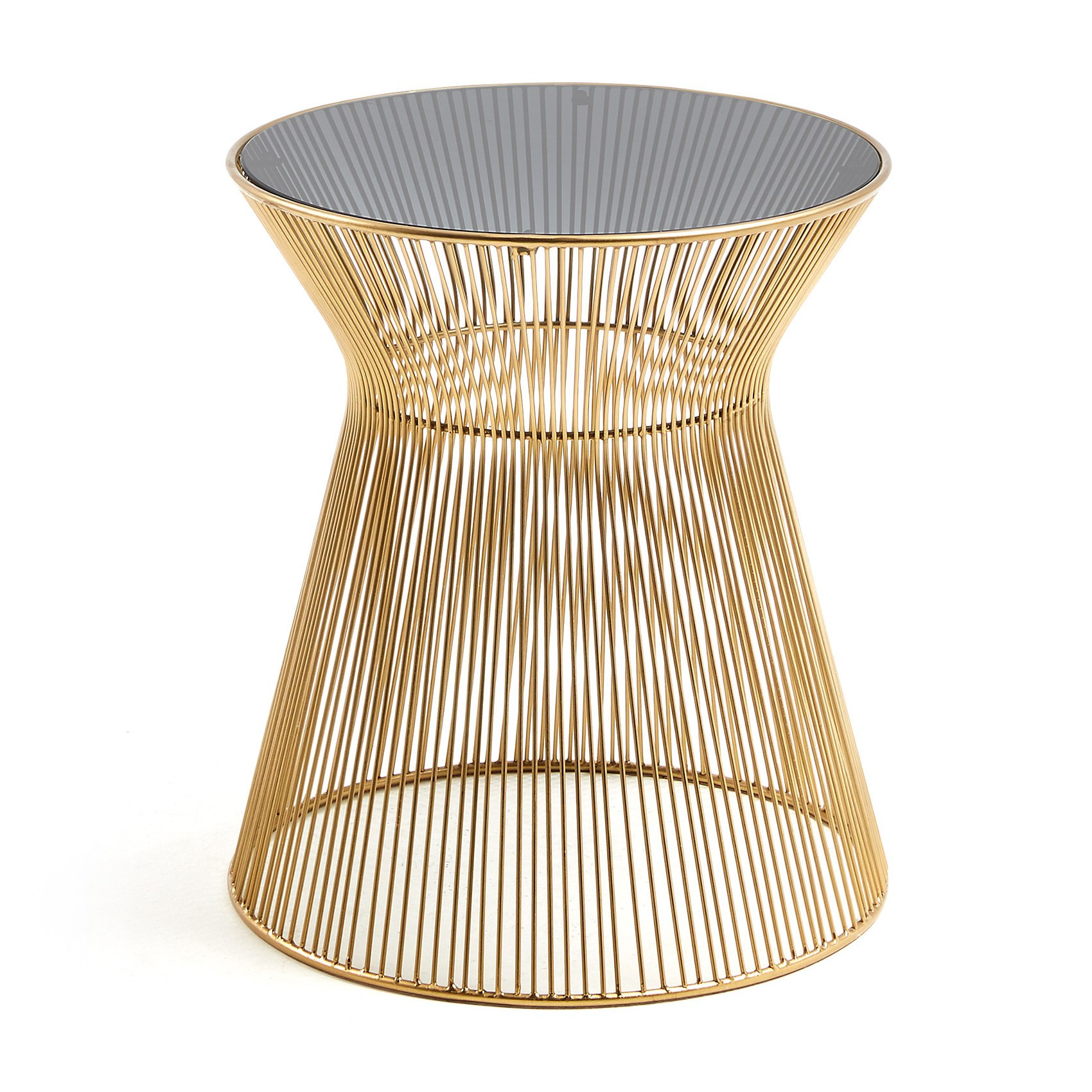 Rahim Glass Topped Iron Round Side Table