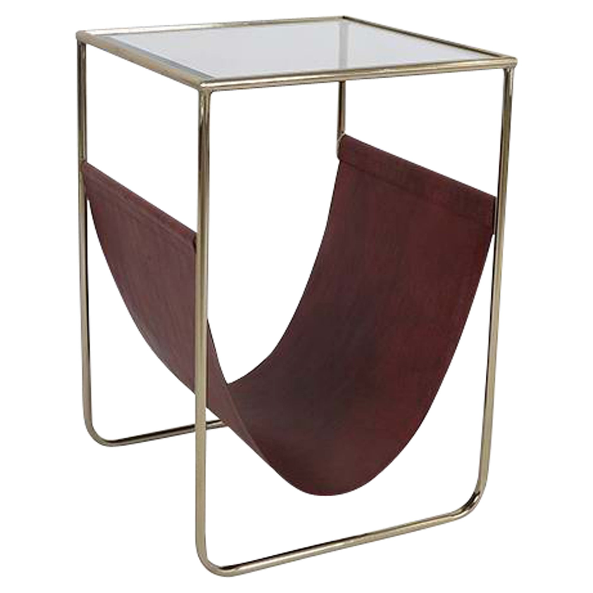 Milnor Glass Topped Metal Side Table with Magazine Holder