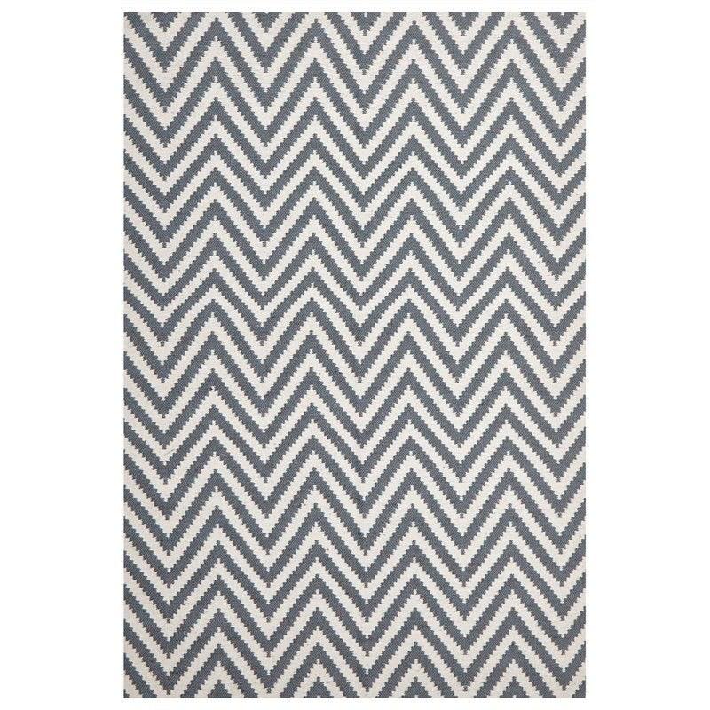 Modern Double Sided Flat Weave Chevron Design Cotton & Jute Rug in Blue - 280x190cm