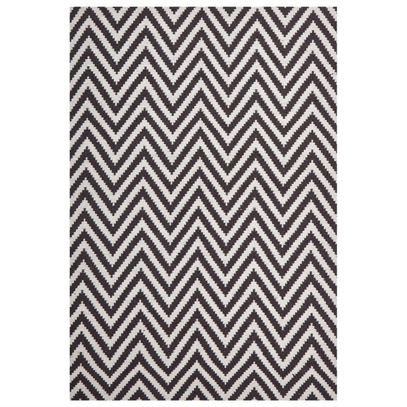 Modern Double Sided Flat Weave Chevron Design Cotton & Jute Rug in Chocolate - 225x155cm