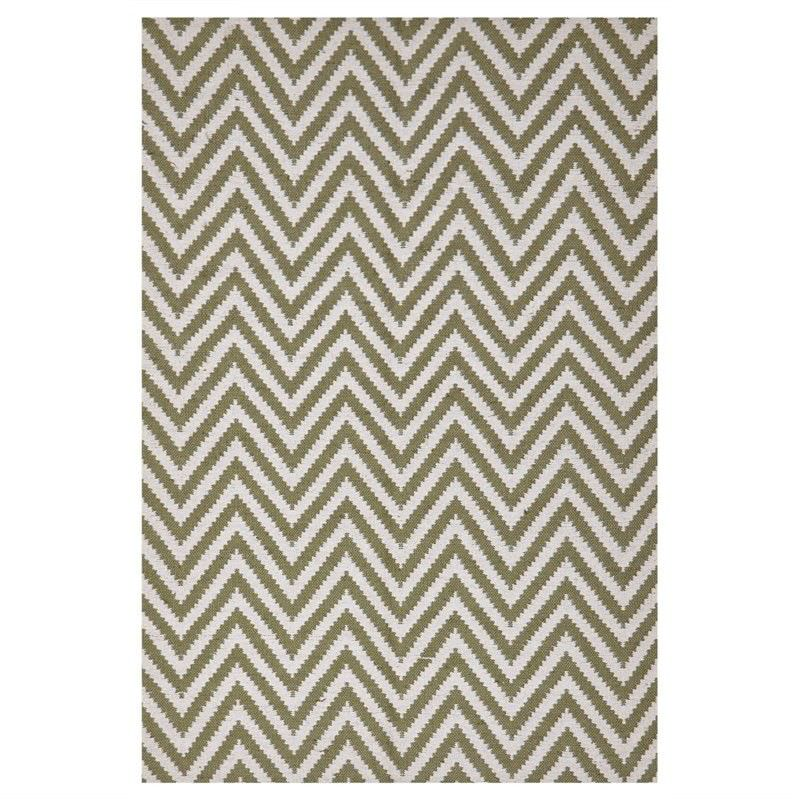 Modern Double Sided Flat Weave Chevron Design Cotton & Jute Rug in Green - 320x230cm