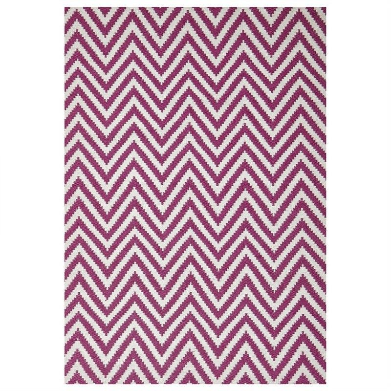 Modern Double Sided Flat Weave Chevron Design Cotton & Jute Rug in Pink - 280x190cm