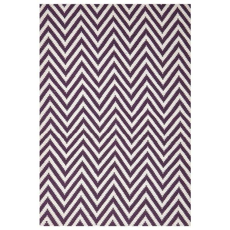 Modern Double Sided Flat Weave Chevron Design Cotton & Jute Rug in Purple - 280x190cm