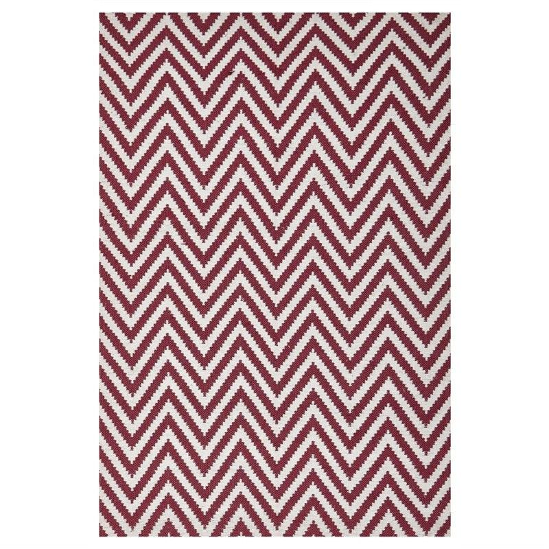 Modern Double Sided Flat Weave Chevron Design Cotton & Jute Rug in Red - 280x190cm