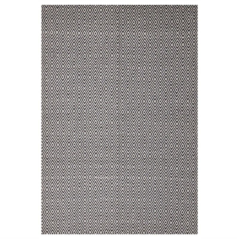 Modern Double Sided Flat Weave Diamond Design Cotton & Jute Rug in Black - 225x155cm