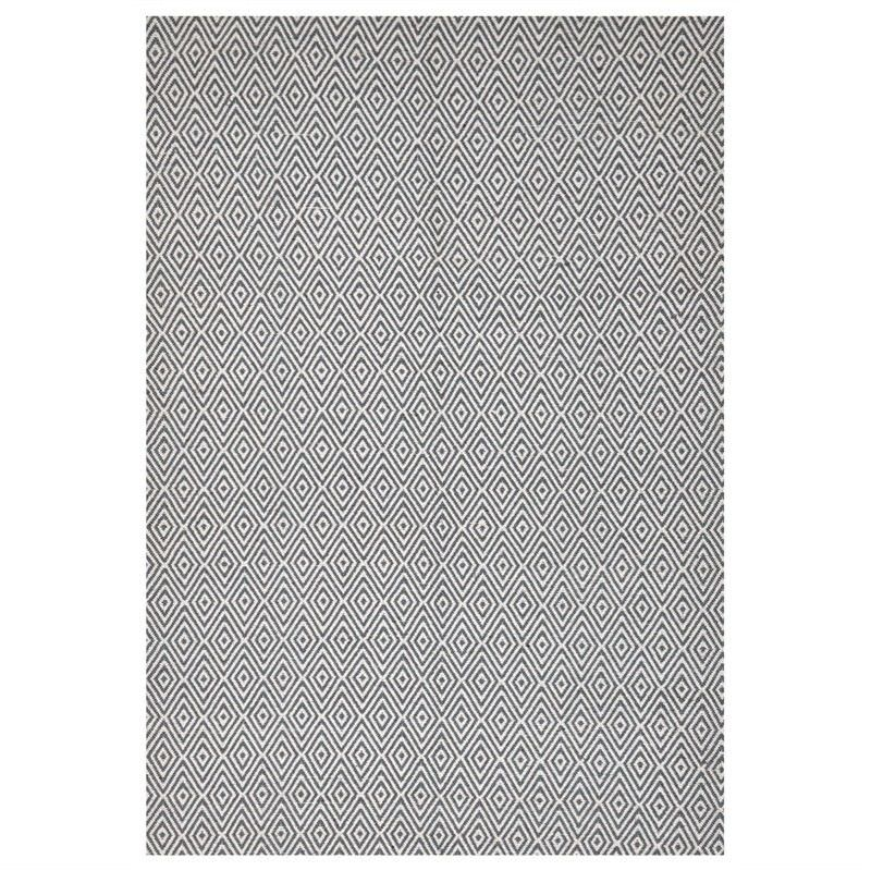 Modern Double Sided Flat Weave Diamond Design Cotton & Jute Rug in Blue - 320x230cm
