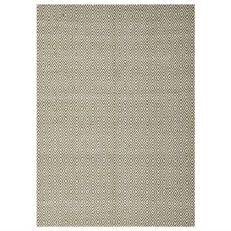 Modern Double Sided Flat Weave Diamond Design Cotton & Jute Rug in Green - 280x190cm
