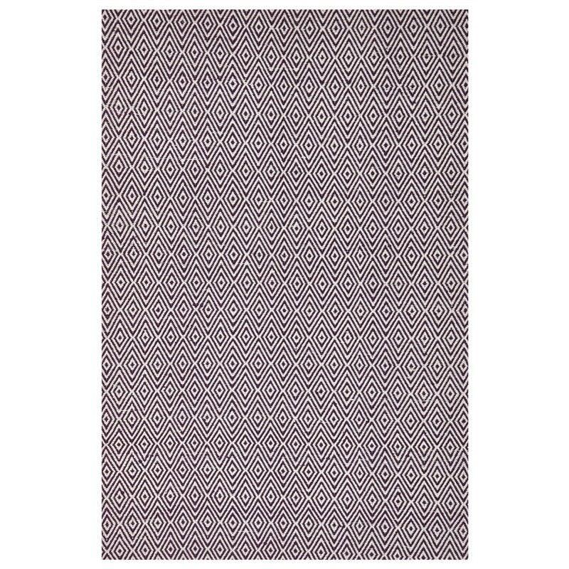 Modern Double Sided Flat Weave Diamond Design Cotton & Jute Rug in Purple - 225x155cm
