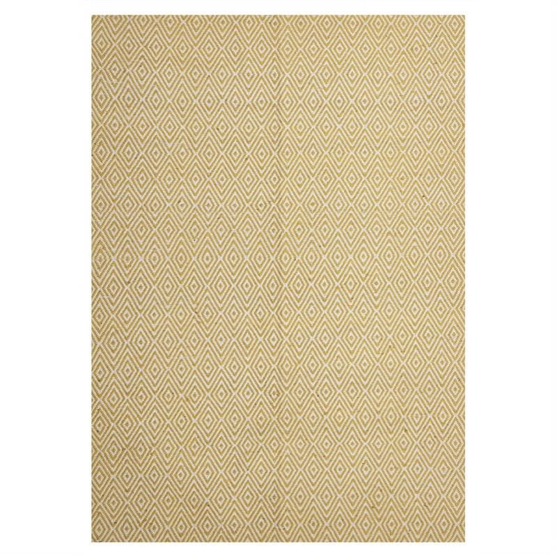 Modern Double Sided Flat Weave Diamond Design Cotton & Jute Rug in Yellow - 280x190cm
