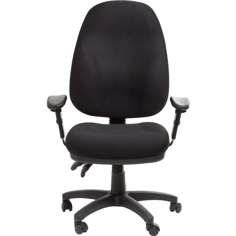 Sydney Commerical Grade Adjustable Fabric Office Armchair - Black