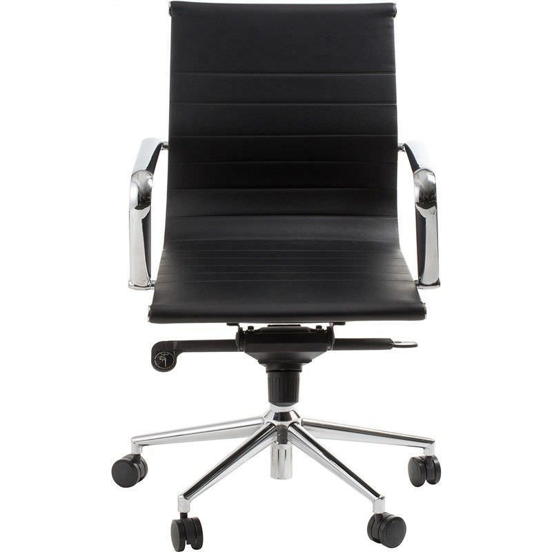 Astoria Commerical Grade Adjustable Leather Low Back Office Armchair - Black