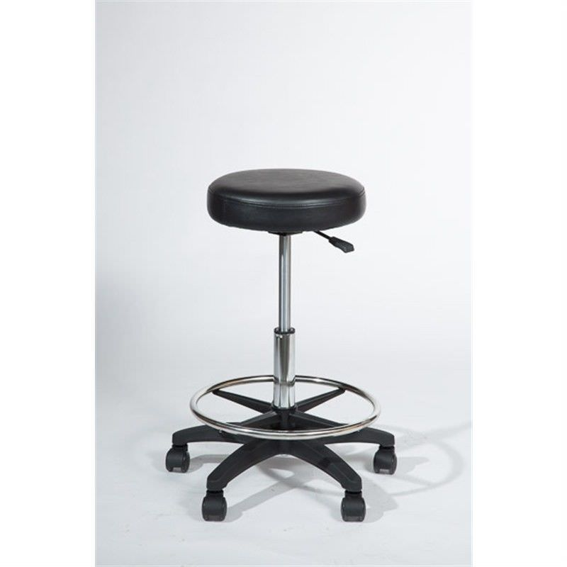 Castle Adjustable Bonded Leather Round Stool with Footrest Ring