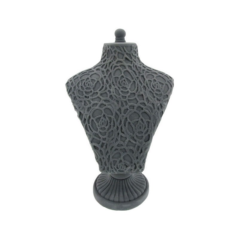 Rose Lace Necklace Display Stand, Dark Grey