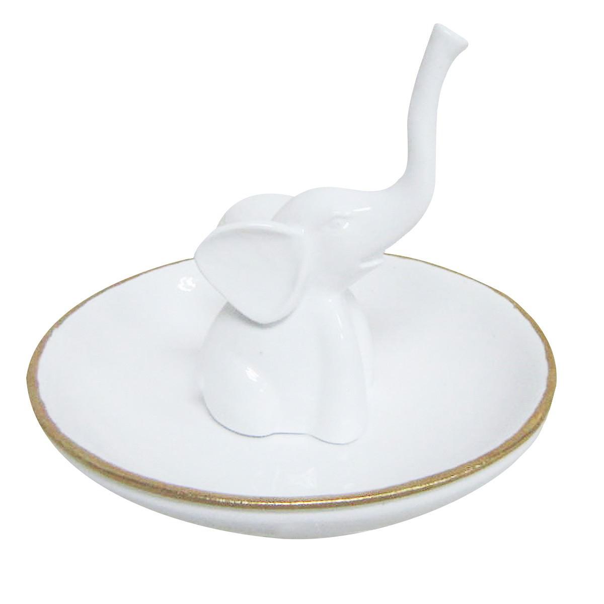 Little Elephant Ring Holder, White