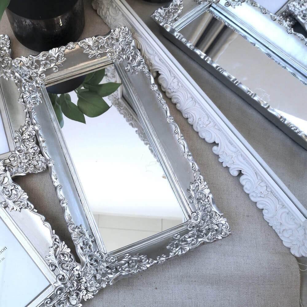 Barocco Mirrored Tray, Silver