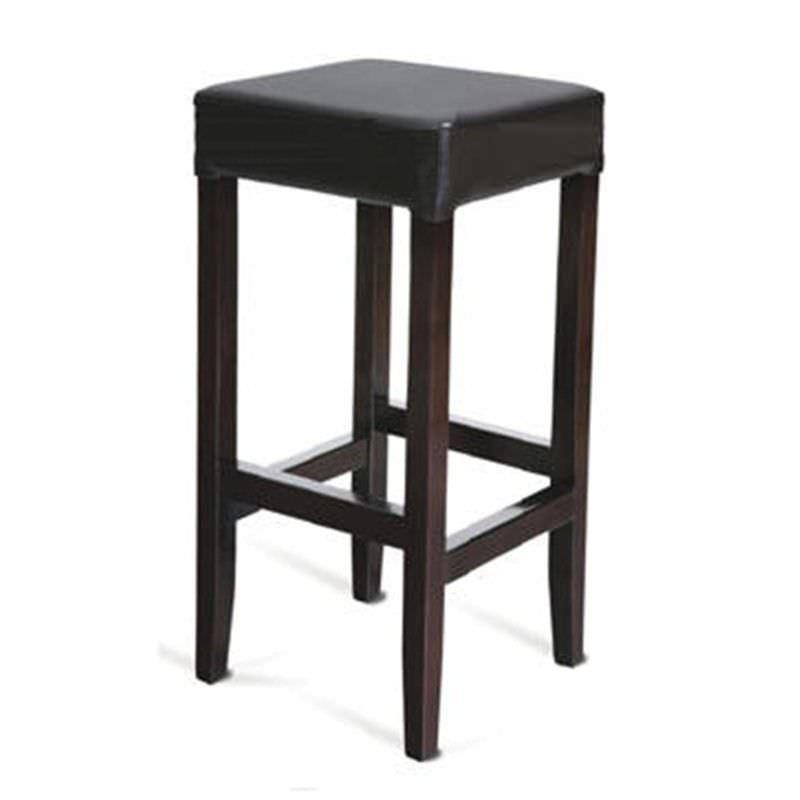 Modern Pu Leather Dark Brown Wooden Bar Stool