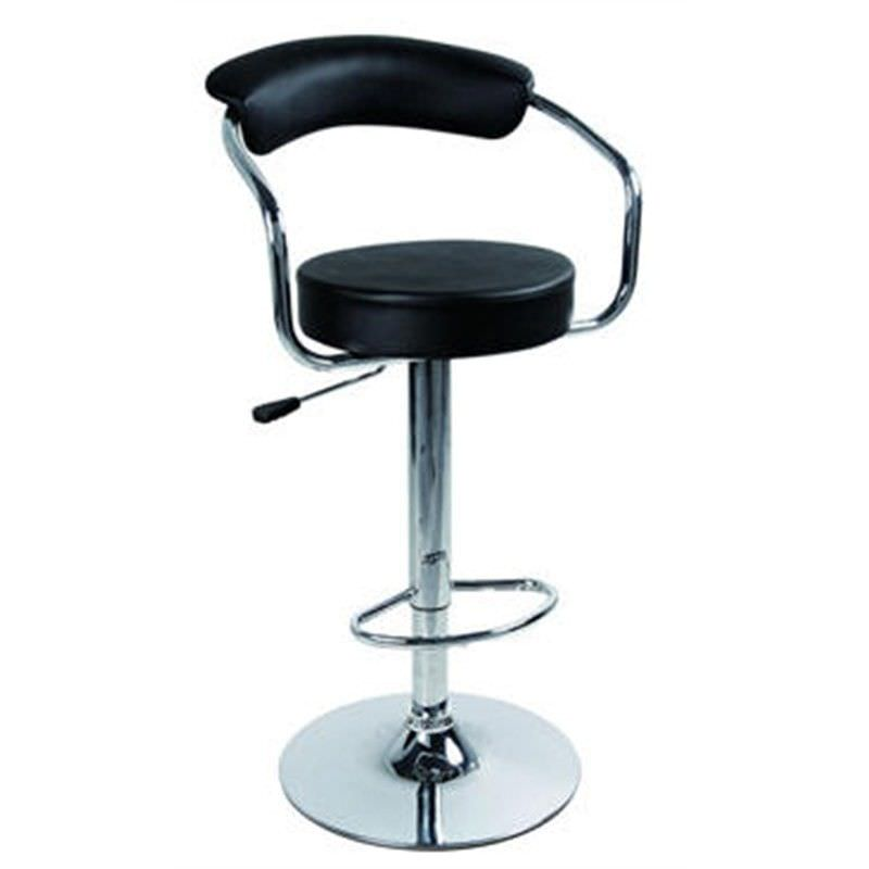 Modern Retro Solid Pu Leather and Gas Lift Bar Stool, Black