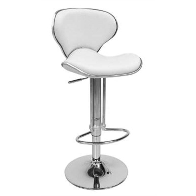 Modern Retro Solid Pu Leather and Gas Lift Bar Stool, White