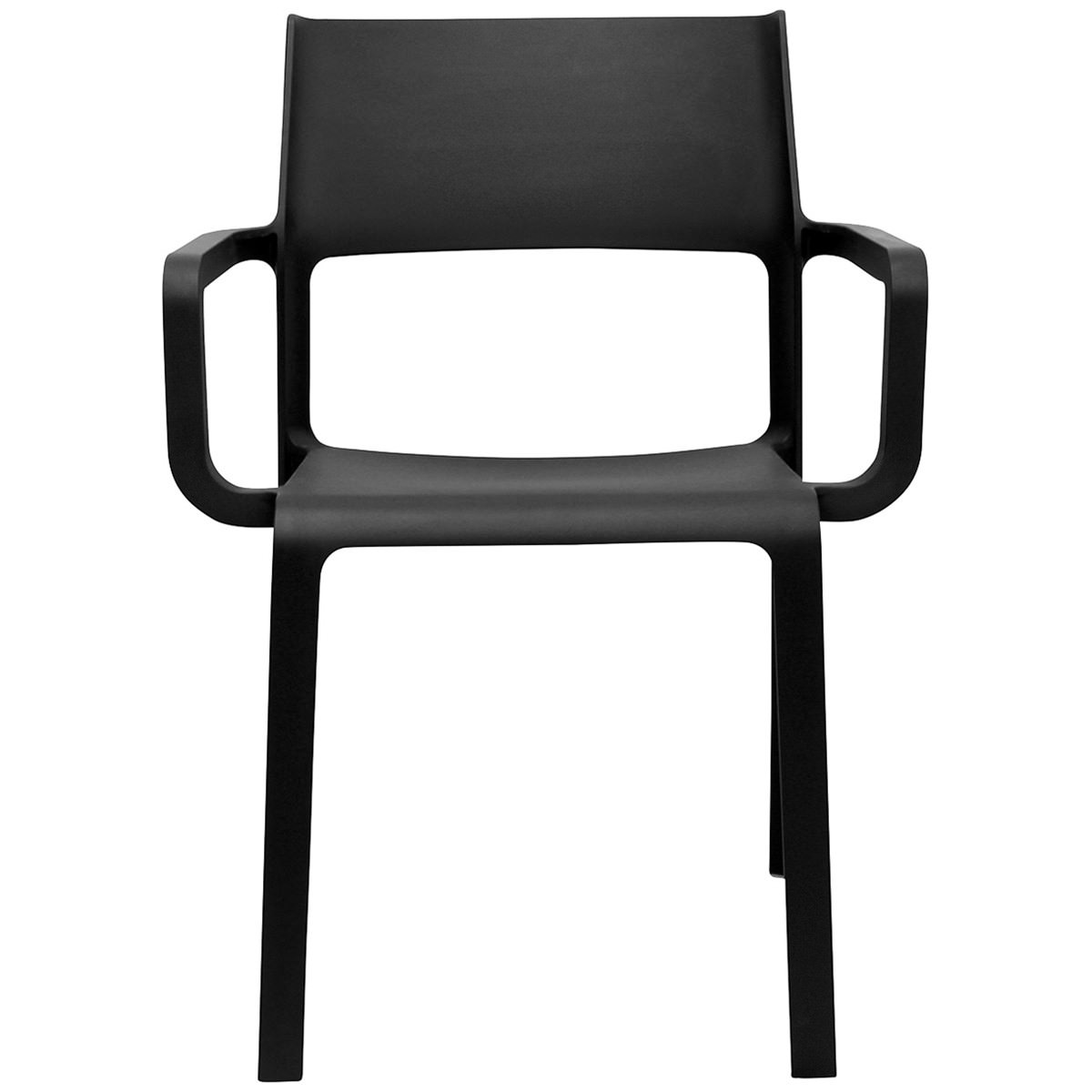 Trill Italian Made Commercial Grade Indoor / Outdoor Dining Armchair, Anthracite
