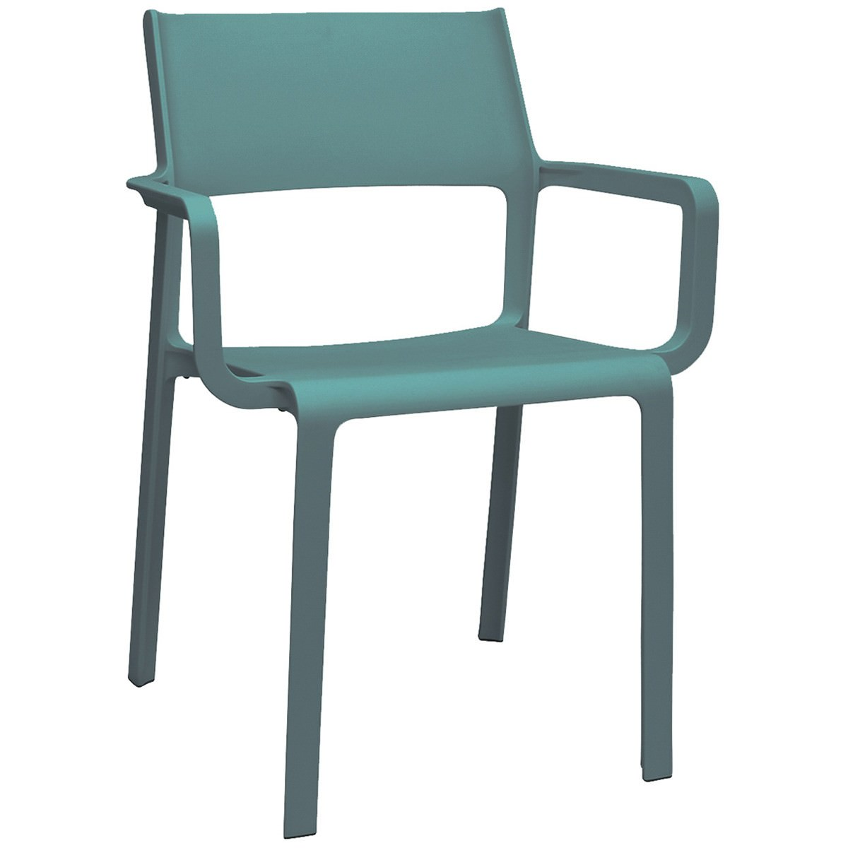 Trill Italian Made Commercial Grade Indoor / Outdoor Dining Armchair, Teal