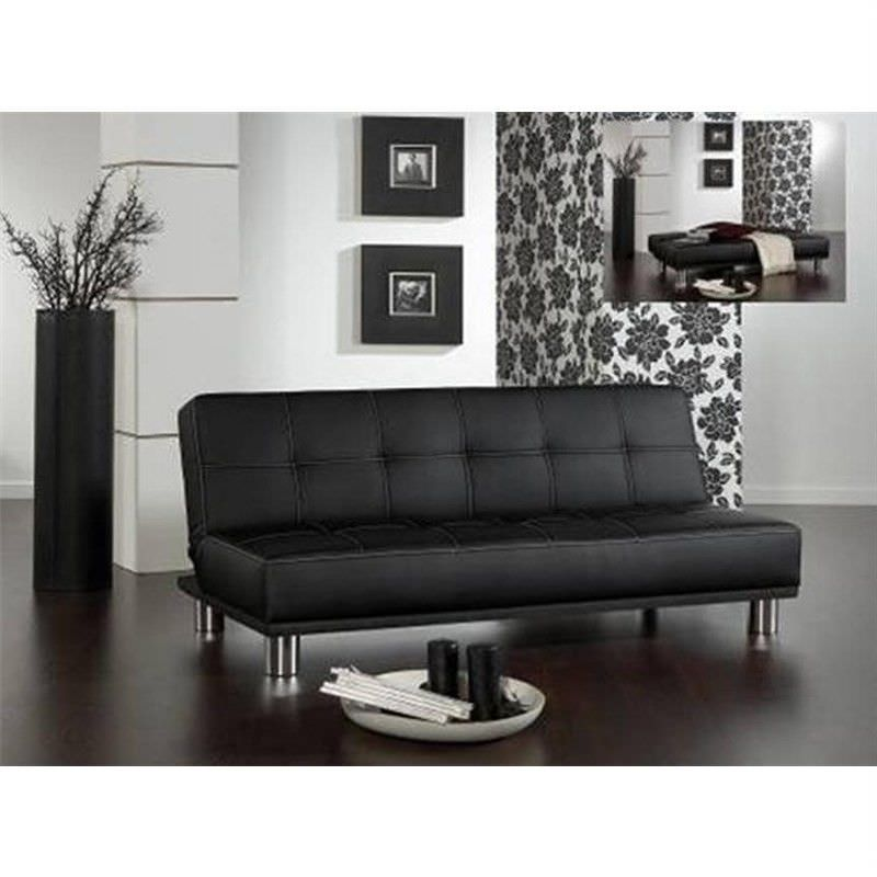 3 Seater Modern Faux Leather Wooden Frame Black Sofa Bed