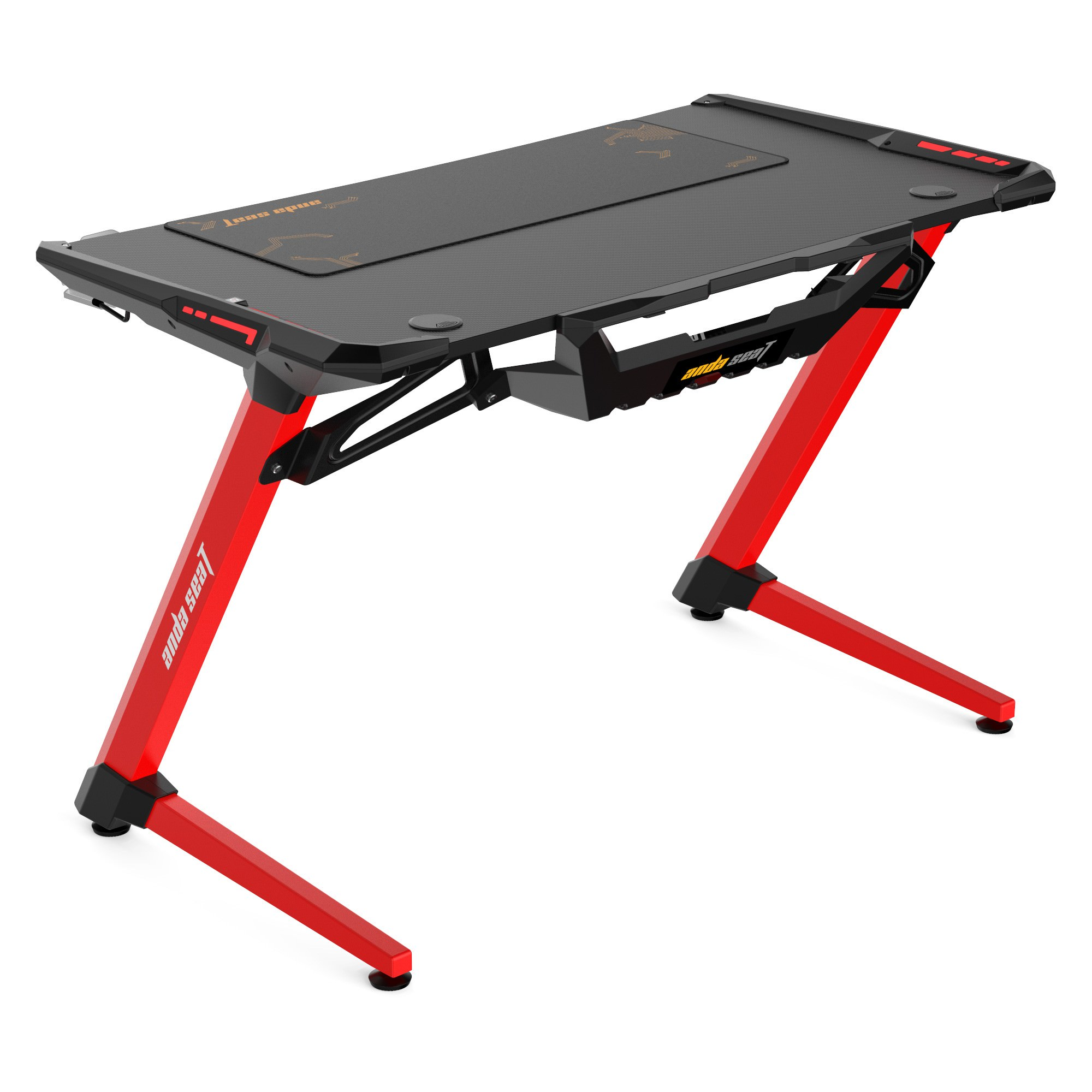 Anda Seat 1200-04 RGB Gaming Desk, 120cm, Red