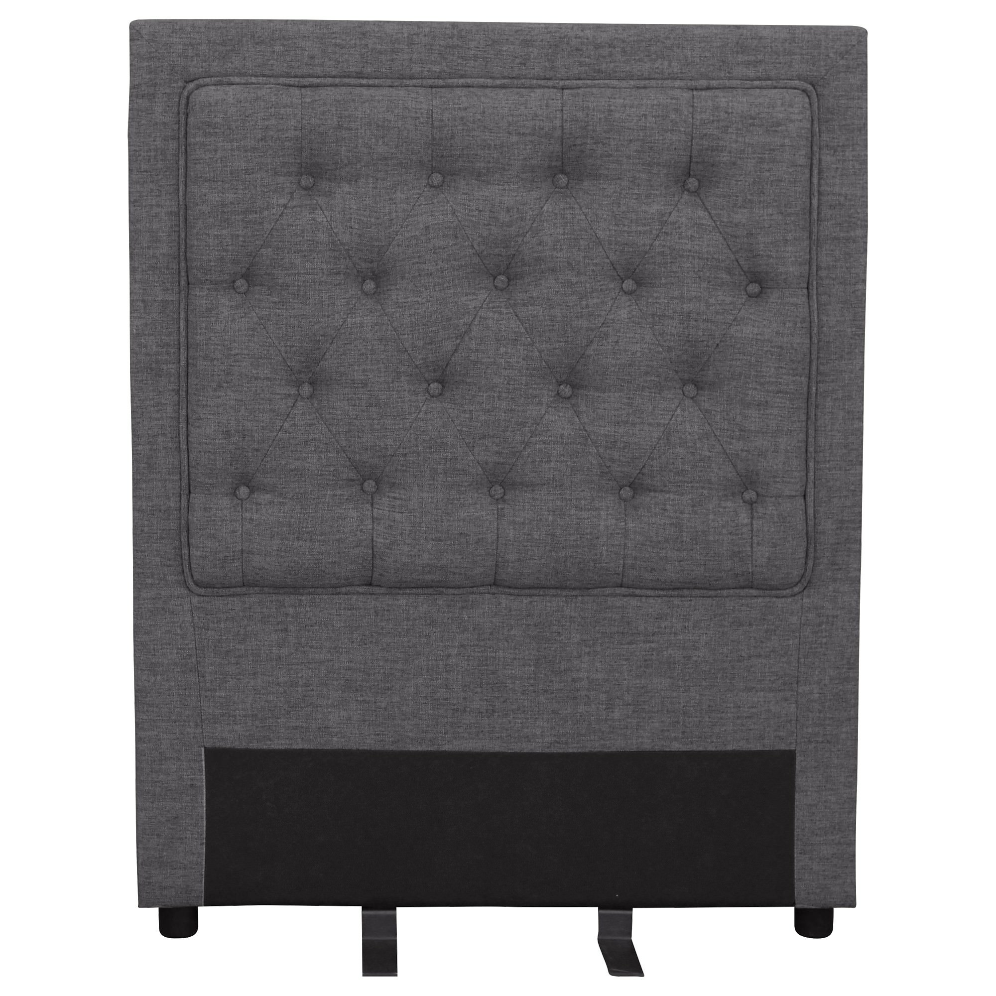 Arwen Tufted Fabric Bed Headboard, King Single, Dark Grey